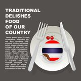 Comida deliciosa tradicional del cartel del país de Tailandia Postre nacional asiático Torta del ejemplo del vector con la bander ilustración del vector