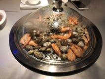 Comida determinada de los mariscos deliciosos del vapor foto de archivo libre de regalías