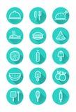 Comida e iconos el cocinar fijados Imagen de archivo libre de regalías