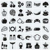 Comida e iconos el cocinar Sistema del vector Foto de archivo libre de regalías