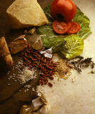 Comida e ingredientes Imagen de archivo libre de regalías