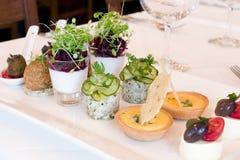 Comida en el restaurante francés Fotos de archivo libres de regalías