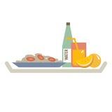 Comida en placa con Juice And Water Bottle anaranjado stock de ilustración
