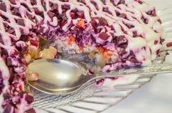 Comida, ensalada, pescado, mariscos, gastrónomo, almuerzo Imagen de archivo