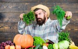 comida estacional de la vitamina Fruta y verdura ?til granjero maduro barbudo Comida org?nica y natural V?spera de Todos los Sant imagen de archivo