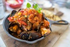 Comida europea: Mejillón azul cocido en salsa de tomate foto de archivo libre de regalías