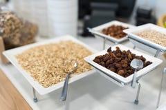 Comida fría de abastecimiento con la avena, las nueces y las pasas Fotos de archivo libres de regalías