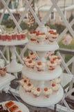 Comida fría de dulces en la tabla de la boda imagen de archivo libre de regalías