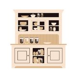 Comida fría de la cocina del aparador con los platos de diversos botellas y vidrios, latas y placas plano imagen de archivo