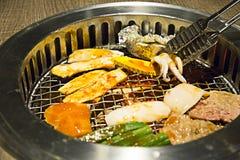 Comida fría de Yakiniku esa barbacoa del estilo japonés Foto de archivo