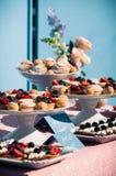 Comida fría dulce deliciosa con las magdalenas, macarrones, otros postres, Imagen de archivo libre de regalías