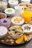 Comida fría rica del desayuno con los cereales, el yogur y la fruta fresca Imagen de archivo
