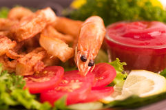 Comida frita sabrosa de la gamba Imagen de archivo libre de regalías