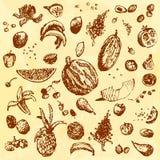 Comida, frutas y bayas dibujadas mano del garabato Objetos de Brown, fondo inconsútil de la acuarela amarilla Imagen de archivo libre de regalías