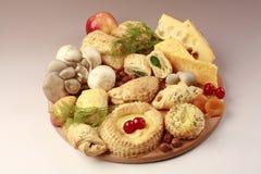 Comida, frutas y pasteles sanos Fotografía de archivo libre de regalías