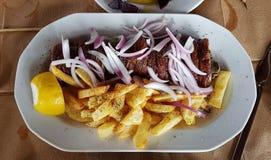 Comida griega del tranditional de la carne del kokoretsi fotos de archivo
