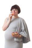Comida healty de la nectarina de la mujer embarazada Imagen de archivo libre de regalías