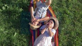 Comida, hermano sano y hermana en sombreros de paja mordiendo las manzanas que mienten en la tela escocesa en hierba verde almacen de metraje de vídeo