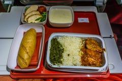 Comida hindú de la línea aérea foto de archivo