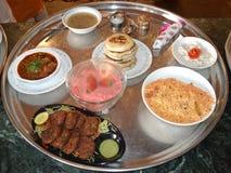 Comida india gigante de la comida del bohra Foto de archivo
