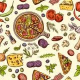 Comida italiana clásica Pizza y rebanadas con diversos ingredientes Vector el modelo inconsútil ilustración del vector