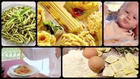 Comida italiana, collage de las pastas almacen de video