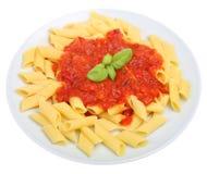 Comida italiana de las pastas de Rigatoni Fotografía de archivo libre de regalías