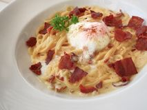 Comida italiana, espagueti Fotos de archivo