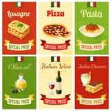 Comida italiana Mini Poster Imágenes de archivo libres de regalías
