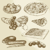 Comida italiana, pizza, verduras Imagenes de archivo