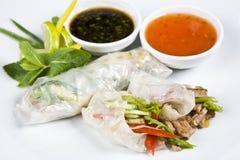 Comida japonesa china para rellenar la carne y verde-stuf Fotografía de archivo
