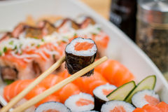 Comida japonesa combinada Fotos de archivo