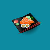 comida japonesa de color salmón fresca ilustración del vector