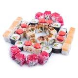 Comida japonesa Sistema del sushi de diversos rollos Imagen de archivo libre de regalías