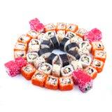 Comida japonesa Sistema del sushi de diversos rollos Imágenes de archivo libres de regalías