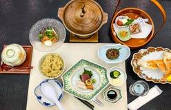 Comida japonesa tradicional, visión superior Foto de archivo