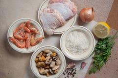 Comida lista del Paella con el camarón Foto de archivo