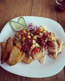 Comida. A lovely lunch salsa tacos royalty free stock photos