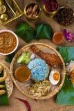 Comida malasia tradicional. El kerabu de Nasi es un tipo de ulam del nasi, fotos de archivo libres de regalías