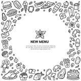 Comida a mano del garabato con el texto Carne, pavo, hamburguesas, tallarines, verduras, mariscos, y dulces blancos y negros esti stock de ilustración