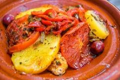 Comida marroquí oriental, cocina tradicional Imagen de archivo libre de regalías