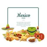 Comida mexicana de la historieta del vector debajo del marco con el lugar para el ejemplo del texto libre illustration