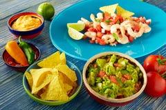 Comida mexicana del Guacamole con el ceviche y los nachos Imagen de archivo