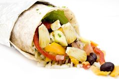 Chicken burrito rice and beans Mexican food. Comida mexicana,  Mexican cuisine, chicken burrito rice and beams with peper, burrito de pollo con arroz y frijoles Stock Photography