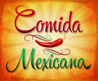 Comida Mexicana - Mexican Food Spanish text Royalty Free Stock Images