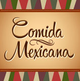 Comida Mexicana. Mexican Food Spanish text - Vector lettering - vintage background vector illustration