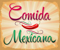 Comida Mexicana - mexican food spanish text Royalty Free Stock Photo
