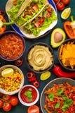 Comida mexicana mezclada Imágenes de archivo libres de regalías