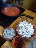 Comida mexicana. Mole y tinga are traditional mexican dishes of chilis and chocolate royalty free stock photo