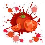 Comida natural vegetal de Logo Watercolor Splash Design Fresh del tomate ilustración del vector